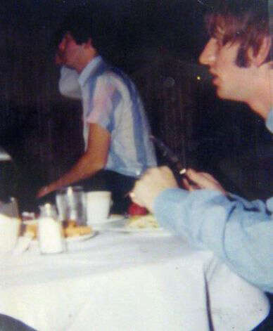 From left, Paul McCartney and Ringo Starr have a meal at the Edgewater Hotel. The dishes The Beatles used during their last breakfast at the hotel were given to daughters of hotel manager Don Wright. (Photo courtesy Ann Wright)