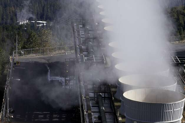 Steam is released  from the cooling tower decks of the geothermal power plants producing 1000 homes per 1 megawatts of energy  through the thousands of acres of the Geysers, Tuesday January 29, 2013, in Middleton, Calif. The Geysers,  lease land from the school trust, which generates more than 4 million dollars in revenue for the teacher pension fund. Photo: Lacy Atkins, The Chronicle