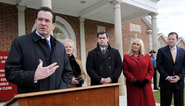 "Gov. Dannel P. Malloy was recently in Newtown Friday to announce an economic development grant. With him at the podium are from left, Newtown First Selectman Pat Llodra, state Reps. Chris Lyddy and DebraLee Hovey and state Sen. John McKinney. John P. McKinney is a Republican member of the Connecticut Senate, representing the 28th district since 1999 and has served as its Minority Leader since June 2007. During a taped interview on WFSB-TV's ""Face the State"" program that McKinney said he was ""unofficially"" announcing his intention to challenge Malloy. Photo: Carol Kaliff / The News-Times"
