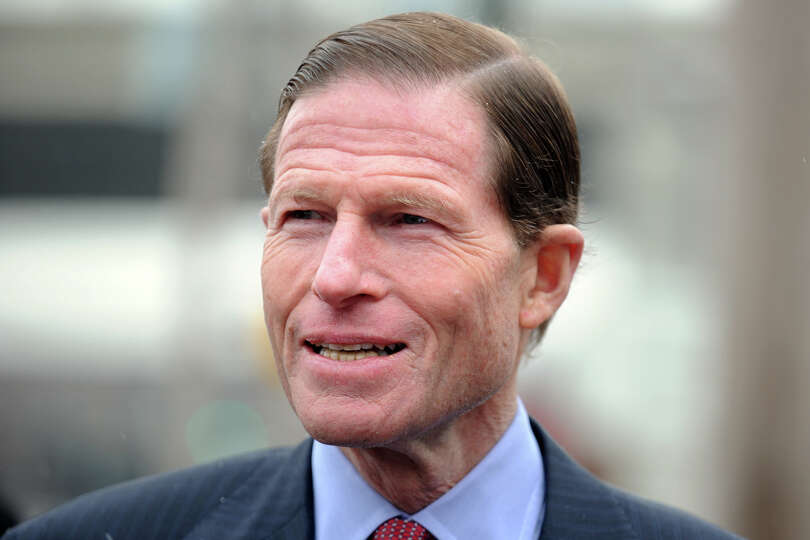 Senator Richard Blumenthal speaks at a press conference at Marina Village, in Bridgeport, Conn., Jan