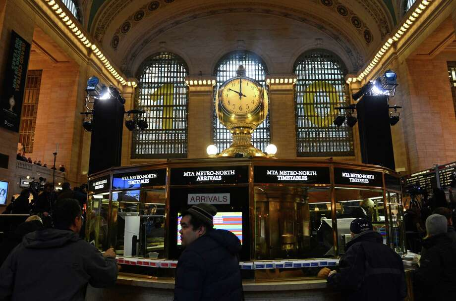 Grand Central Terminal is decorated for its centennial celebrations. Grand Central Terminal is the doyenne of US train stations. Photo: EMMANUEL DUNAND, AFP/Getty Images / EMMANUEL DUNAND