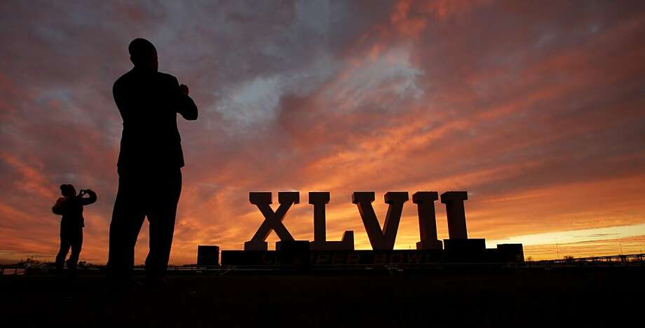 Hope you can read Roman numerals: As a public service for people who don't know which Super Bowl it is - here you go. (New Orleans.) Photo: Charlie Riedel, Associated Press
