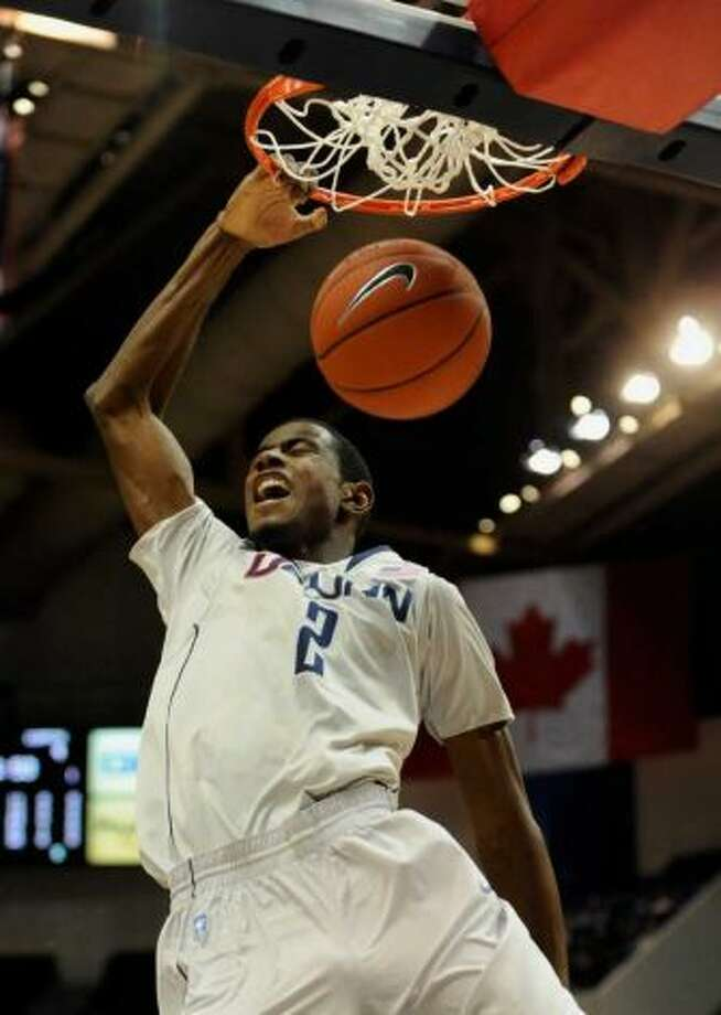 Connecticut forward DeAndre Daniels dunks in a game during his freshman year.