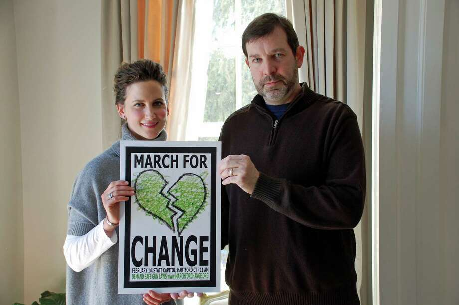 Jarret Liotta / For the Darien News Abby Knott and Phil Hamilton, both of Darien, are the co-chairmen of the Darien March for Change chapter, a grass-roots effort to have gun laws changed in Connecticut and around the country. The group is working in cooperation with Connecticut Against Gun Violence, the board on which Hamilton serves. Photo: Contributed