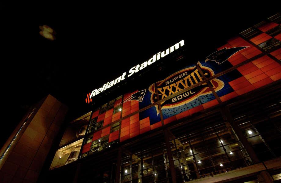 Reliant Stadium is all decked out prior to Super Bowl XXXVIII. Photo: Karl Stolleis, Houston Chronicle / Houston Chronicle