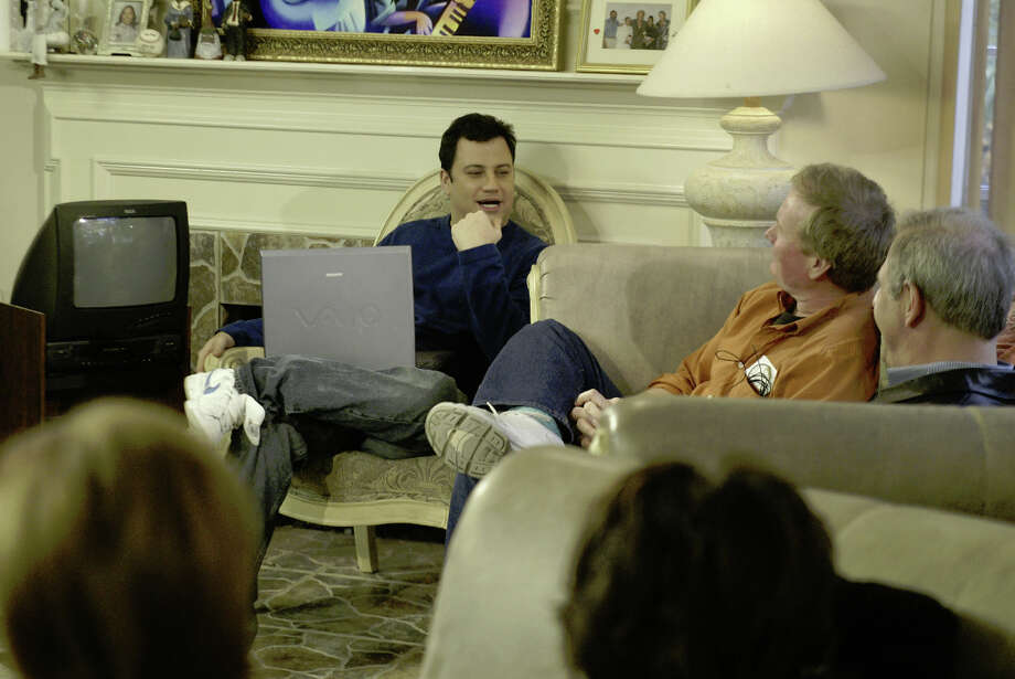 Jimmy Kimmel rehearses his show with his production staff in the Moustra's house where the Jimmy Kimmel Live show is being broadcast, Jan. 30, 2004. Photo: Josh Merwin, Houston Chronicle / Houston Chronicle