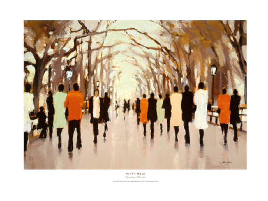 "Poet's Walk print by Lorraine ChristieAn urban atmosphere adds energy to a neutral decor scheme. 36"" x 26"", $35. art.com. Photo: Art.com"