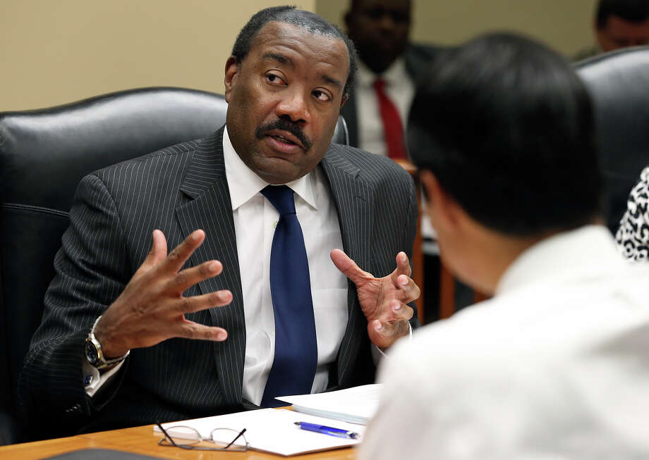 Doyle Beneby expresses appreciation after he is offered a new contract  during a board meeting at the CPS headquarters in San Antonio on February 1, 2013. Photo: Tom Reel, San Antonio Express-News / ©2012 San Antono Express-News