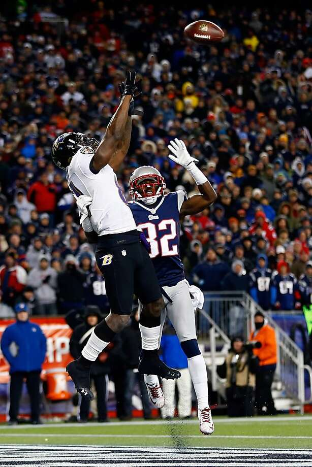 The Ravens' Anquan Boldin reaches for one of his two TD catches in the AFC Championship Game win over the Patriots. Photo: Jared Wickerham, Getty Images