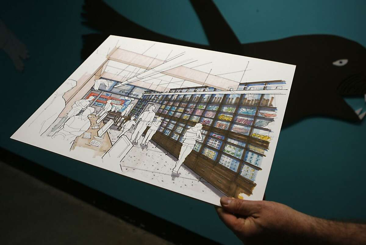 A sketch of the new geology and zoology exhibits is shown the basement of the Randall Museum in San Francisco, Calif., on Thursday, January 31, 2013. The Randall Museum is undergoing a $5 million dollar renovation.