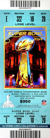 The lodge level seating ticket for Super Bowl 47 in New Orleans costs $950. Photo taken Thursday, January 30, 2013 Guiseppe Barranco/The Enterprise Photo: Guiseppe Barranco, STAFF PHOTOGRAPHER / The Beaumont Enterprise