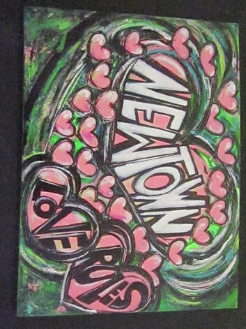 """Newtown Love Rules,"" by Lauren DePalma, has been donated to HealingNewtown Art Space, which opens on Valentine's Day. Photo: Contributed Photo"