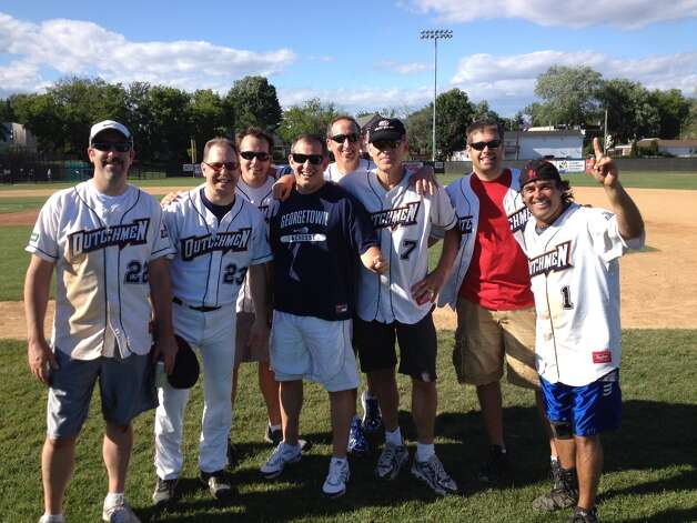 Winning team at the 2012 Annual EO Albany Softball Game at Bellizzi Stadium. L-R: Dave Wojeski, CEO of Wojeski & Co.;  Ray Seefeld, CEO of Superior Office Supplies; Mario Pecoraro, CEO of Alliance Investigative; PT Maney, CEO of Nextridge Inc.; Dave Vener, CEO of Burst Marketing; Mark Shipley, CEO of Smith & Jones; Anthony Pfister, CEO of Classbooks.com; Johathan Phillips, CEO of Phillips Hardware.