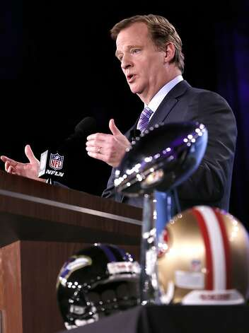 Roger Goodell gives the annual commissioner's state of the NFL address. Photo: Michael Macor, The Chronicle