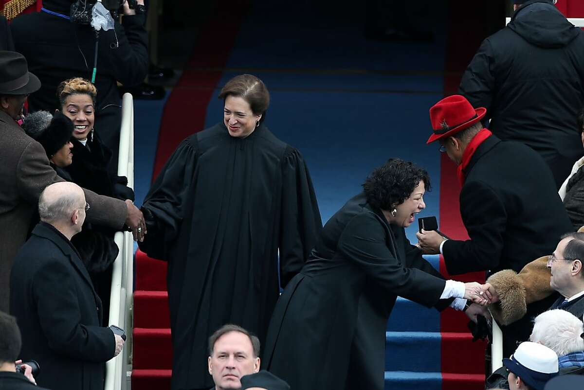 WASHINGTON, DC - JANUARY 21: Supreme Court Justice Sonia Sotomayor (R) and Supreme Court Justice Elena Kagan arrive during the presidential inauguration on the West Front of the U.S. Capitol January 21, 2013 in Washington, DC. Barack Obama was re-elected for a second term as President of the United States. (Photo by Justin Sullivan/Getty Images)