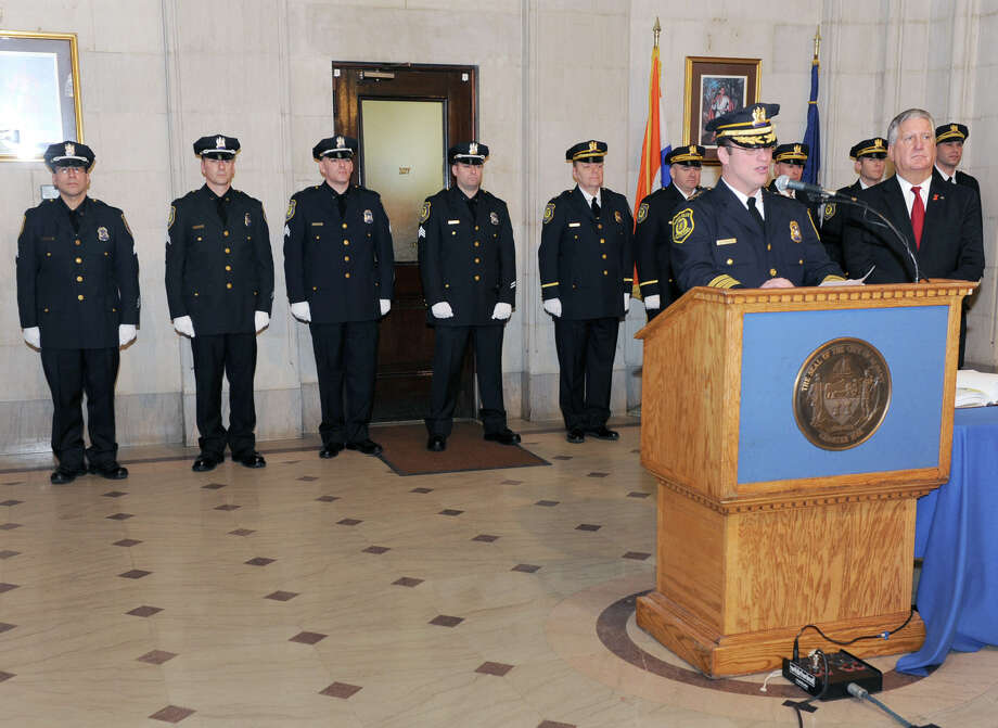 Chief Steven Krokoff speaks after Mayor Jerry Jennings, right, swore in nine newly promoted members of the Albany Police Department at City Hall Friday Feb. 1, 2013 in Albany, N.Y.  (Lori Van Buren / Times Union) Photo: Lori Van Buren
