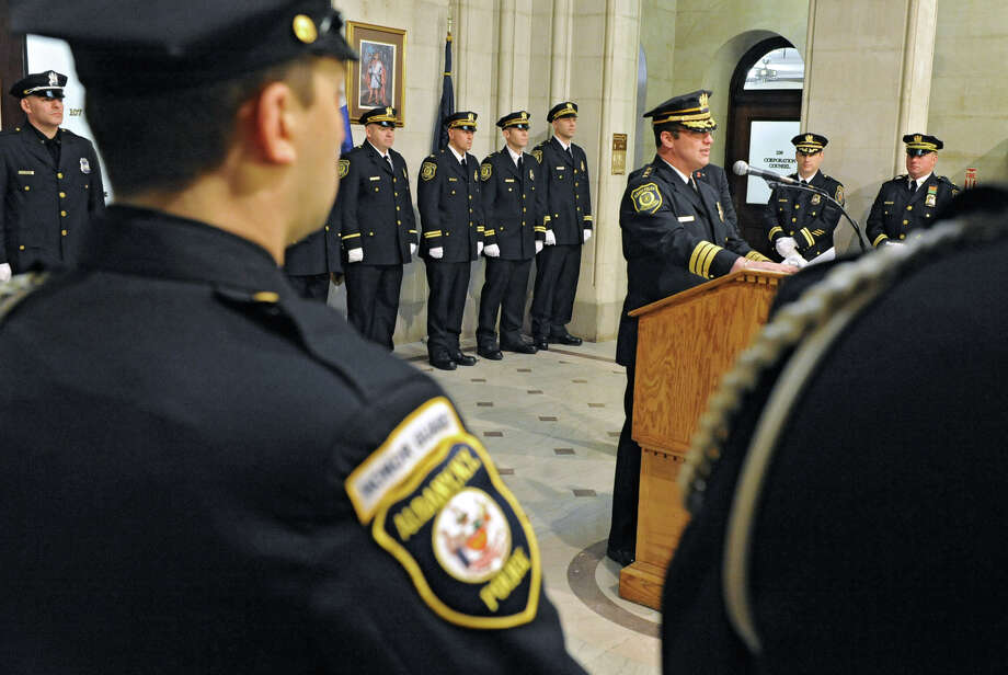 Chief Steven Krokoff speaks after Mayor Jerry Jennings swore in nine newly promoted members of the Albany Police Department at City Hall Friday Feb. 1, 2013 in Albany, N.Y.  (Lori Van Buren / Times Union) Photo: Lori Van Buren