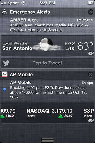 An Amber Alert sent last month is displayed on an iPhone 4s on the Sprint Network.
