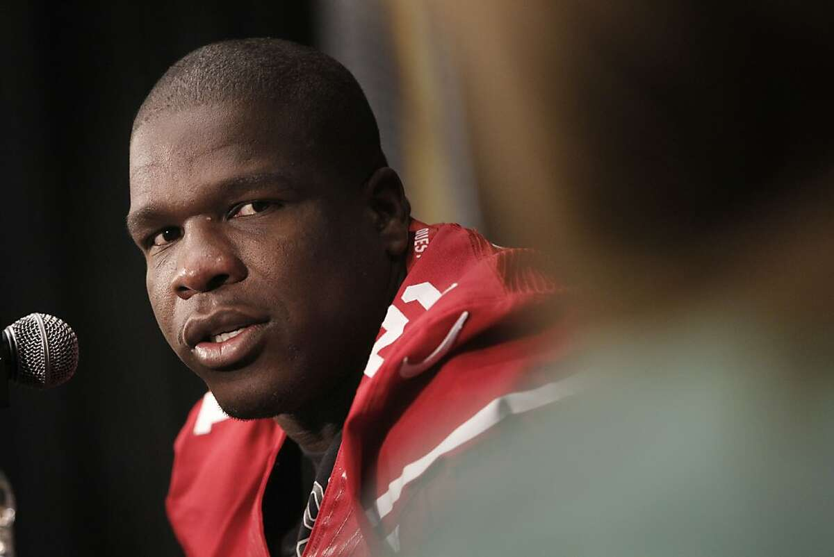 49ers' running back Frank Gore talks with the media during the daily press conference on Thursday Jan. 31, 2013, in New Orleans, La. The San Francisco 49ers and the Baltimore Ravens prepare for this Sunday's NFL Superbowl match up.