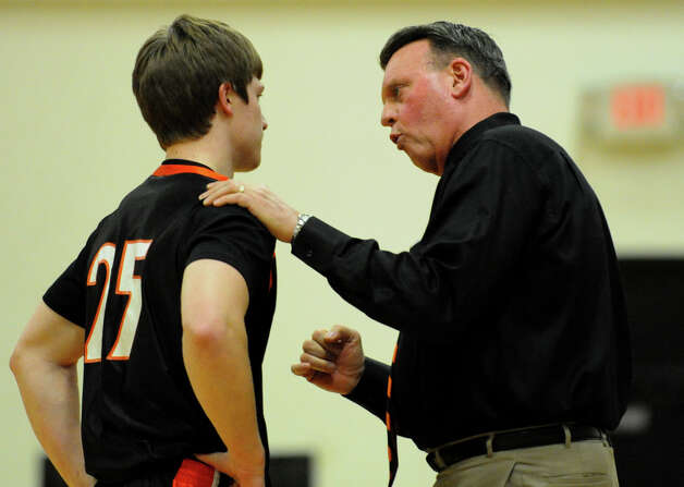 Ridgefield Head Coach Carl Chales, during boys basketball action against Central in Bridgeport, Conn. on Friday February 1, 2013. Photo: Christian Abraham / Connecticut Post
