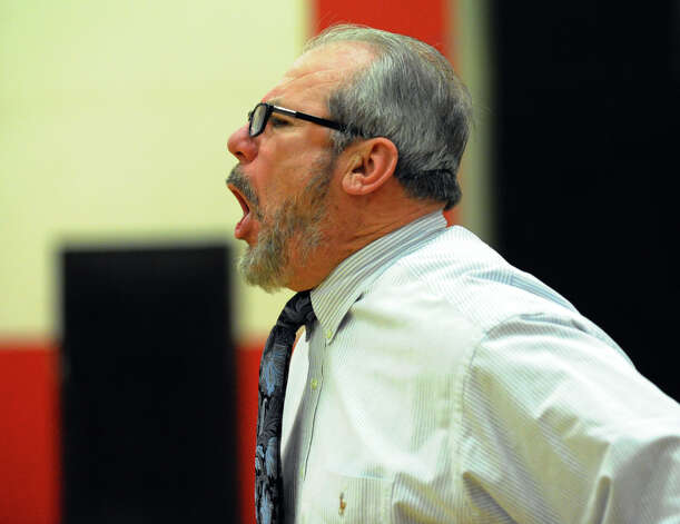Central Head Coach barry McLeod, during boys basketball action against Ridgefield in Bridgeport, Conn. on Friday February 1, 2013. Photo: Christian Abraham / Connecticut Post