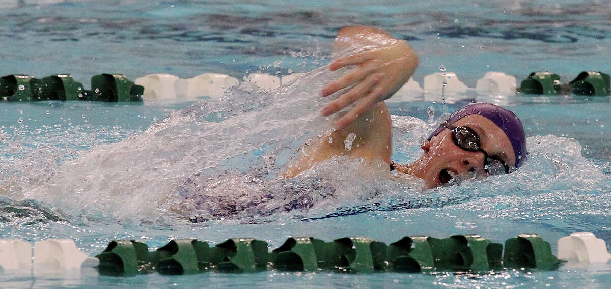 Boerne's Julia Cook swims the 200-yard freestyle at the District 29-4A swim meet at Palo Alto College on Friday, Feb. 1, 2013. Cook took first with a time of 1:57.05.