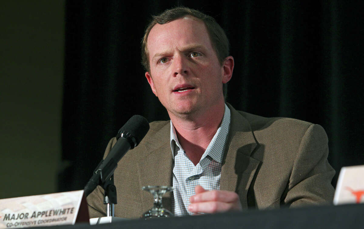 UT Co-offensive coordinator Major Applewhite speaks as Texas and Oregon State hold news conferences at the Marriott Riverwalk on December 26, 2012.