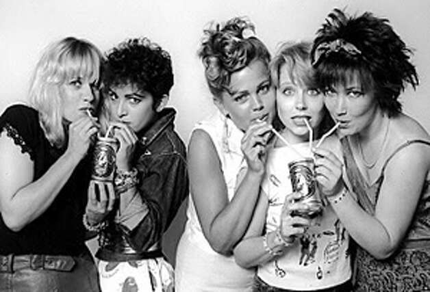 Behold the Go-Go's! Gina Schock, Jane Wiedlin, Belinda Carlisle, Charlotte Caffey and Kathy Valentine in the '80s.