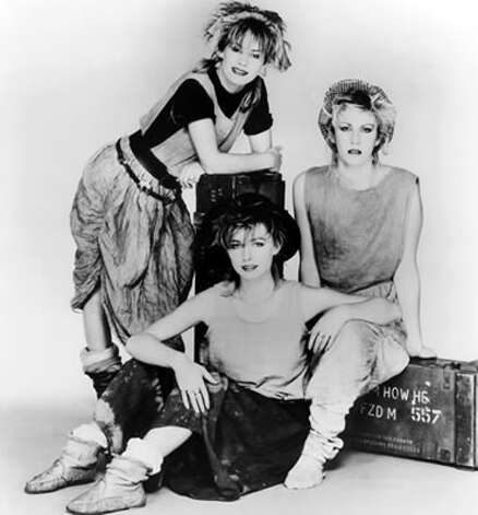 Remember these ladies? The original members of Bananarama — Siobhan Fahey, Keren Woodward and Sara Dallin — circa 1982.