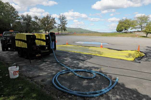 A view of a boat washing station setup near a boat launch on the south end of Lake George, Thursday, Sept. 20, 2012,  in Lake George, NY.  (Paul Buckowski / Times Union archive) Photo: Paul Buckowski / 00019298A