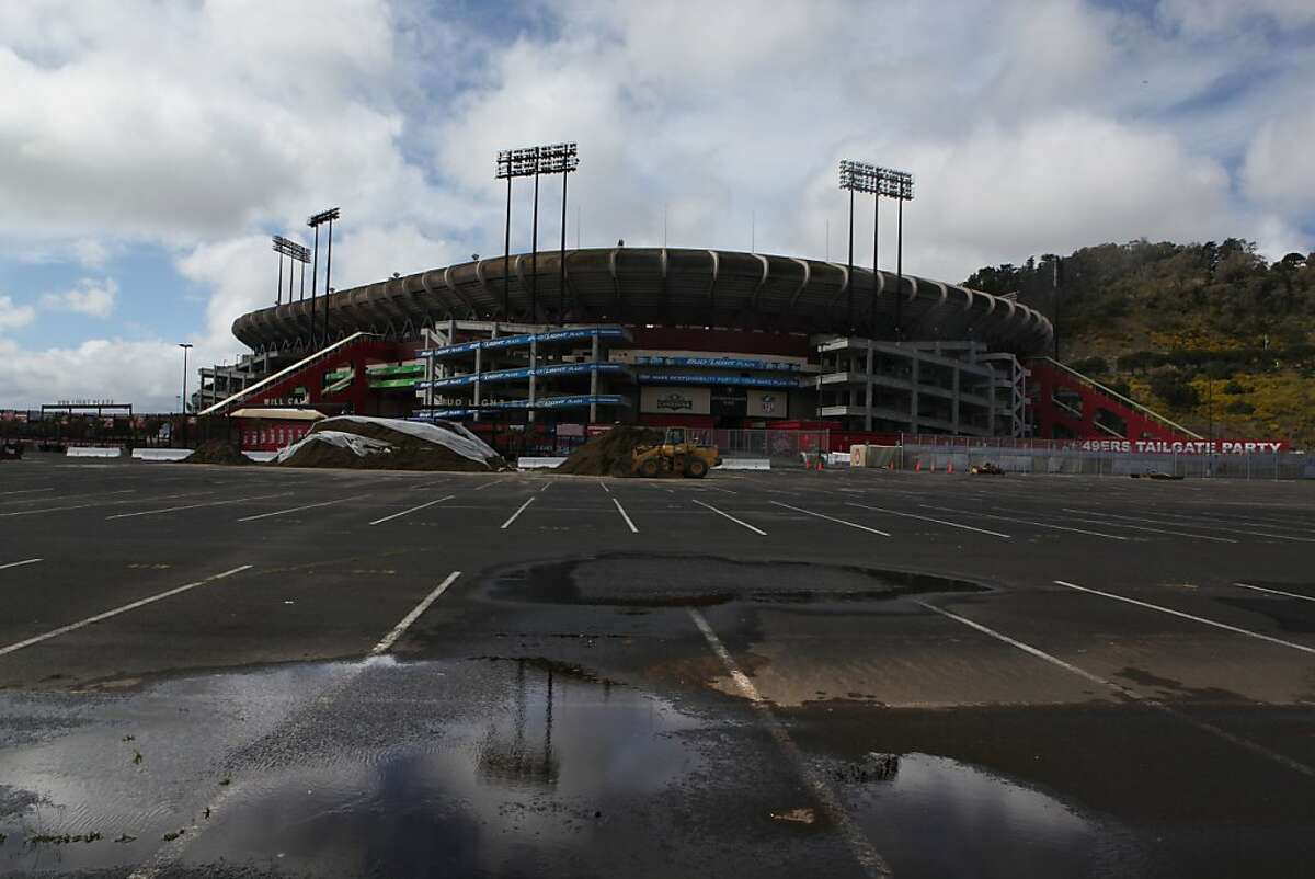 Candlestick Park stadium in San Francisco, Calif., seen after the rains on Friday, April 13, 2012.