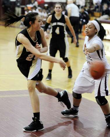 Lady Pirate Mikayla Darbonne, #24, looks to pass during the Central High School girls basketball game against Vidor High School on February 1, 2013, at Central High School. Central won over Vidor 70 -46. Photo taken: Randy Edwards/The Enterprise Photo: Randy Edwards