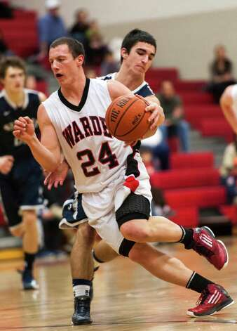 Staples high school vs. Fairfield Warde high school in a boys basketball game played at Fairfield Warde high school, Fairfield, CT on Friday February 1st, 2013. Photo: Mark Conrad / Connecticut Post Freelance