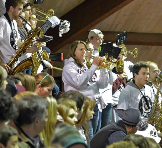 Union College's pep band performs during Friday's against Dartmouth at Messa Rink in Schenectady Feb. 1, 2013.  (John Carl D'Annibale / Times Union) Photo: John Carl D'Annibale / 00020976A