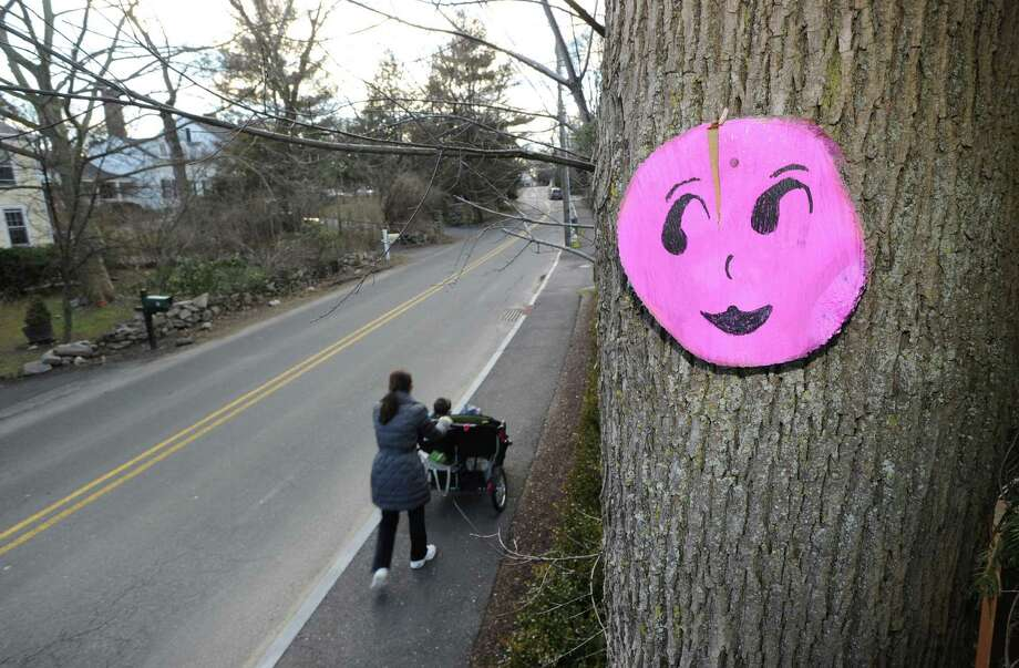 A round pink smiley face attached to a tree trunk on Lockwood Road in Riverside, Thursday, Jan. 31, 2013. The folk-art faces, made of wood, have been showing up nailed to trees in Old Greenwich and Riverside. Photo: Bob Luckey / Greenwich Time
