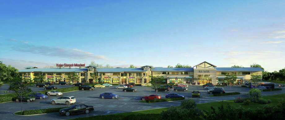This rendering shows the Yale Street Market, the shopping center that's planned for the southwest corner of Interstate 10 and Yale. Photo: Texas Land Engineering/Ponderosa