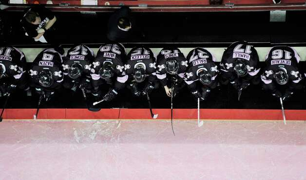The San Antonio Rampage bench is seen during the first period of an AHL hockey game against the Rockford IceHogs, Friday, Feb. 1, 2013, in San Antonio. (Darren Abate/pressphotointl.com) Photo: Darren Abate, For The Express-News / Darren Abate/pressphotointl.com
