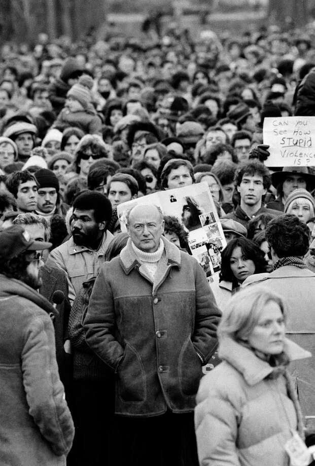 FILE - In this Dec. 14, 1980, file photo, New York Mayor Ed Koch stands among Beatles' fans paying tribute to the late John Lennon during a silent vigil that was called by Mayor Koch in New York's Central Park. Koch, the combative politician who rescued the city from near-financial ruin during three City Hall terms, has died at age 88. Spokesman George Arzt says Koch died Friday morning Feb. 1, 2013 of congestive heart failure. Photo: Rene Perez, AP / AP
