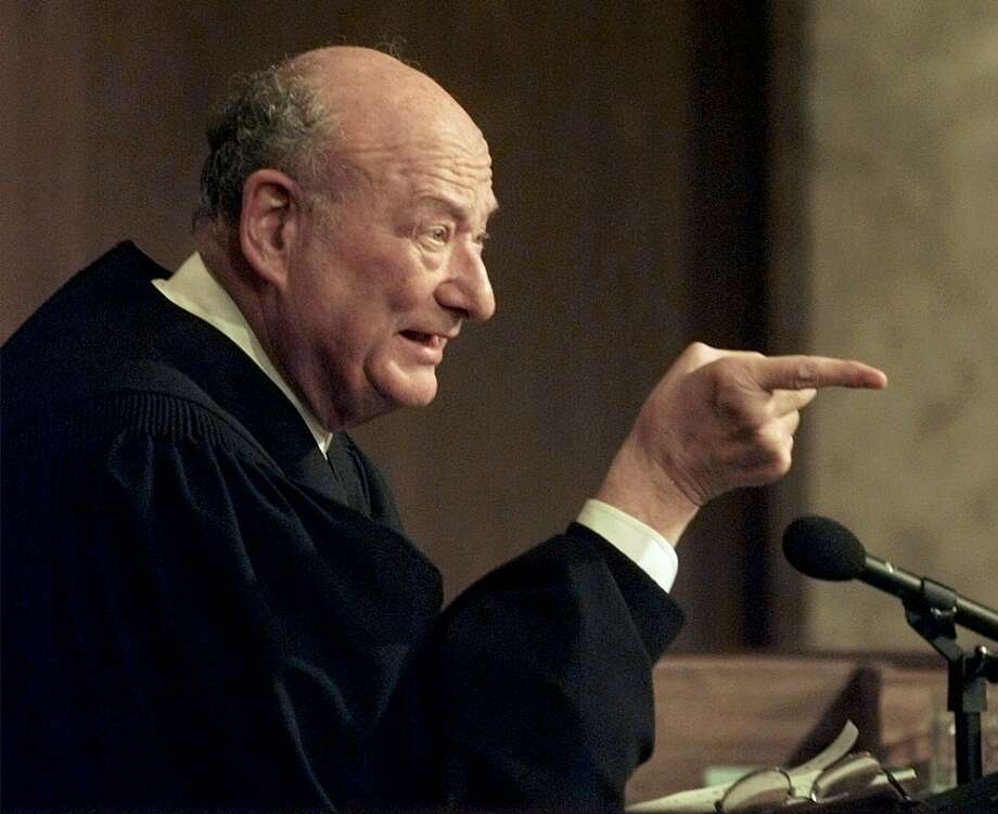 "FILE - In this Aug. 21, 1997 file photo, former New York Mayor Ed Koch, now the presiding judge on ""The People's Court,"" tapes a show at a New York studio. Koch died Friday, Feb. 1, 2013 from congestive heart failure, spokesman George Arzt said. He was 88. Photo: MARK LENNIHAN, AP / AP"