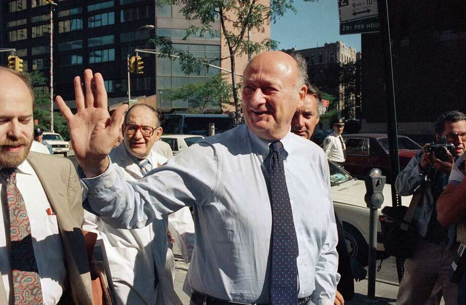 In this Aug. 13, 1987 file photo, New York Mayor Edward I. Koch waves to onlookers as he arrives at New York's Columbia Presbyterian Hospital Neurological Center. Koch died Friday, Feb. 1, 2013 from congestive heart failure, spokesman George Arzt said. He was 88. Photo: David Bookstaver, AP / AP