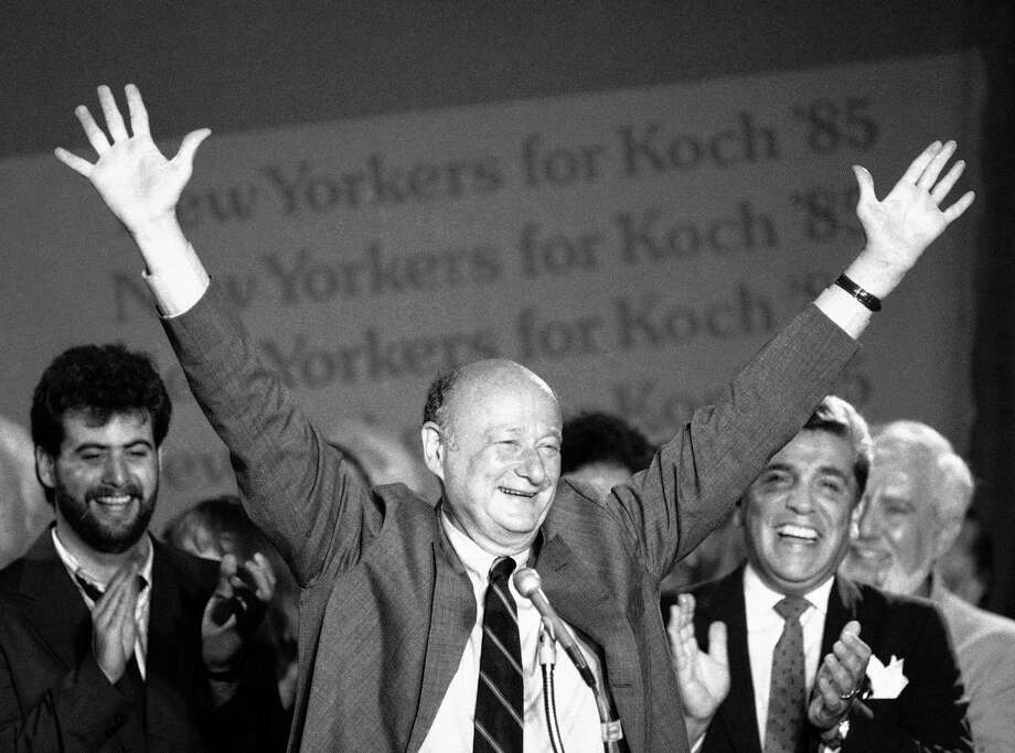 In this Sept. 11, 1985 file photo, New York Mayor Ed Koch raises his arms in victory at the Sheraton Centre in New York after winning the Democratic primary in his bid for a third four-year term.   Koch died Friday, Feb. 1, 2013 from congestive heart failure, spokesman George Arzt said. He was 88. Photo: Mario Suriani, AP / AP