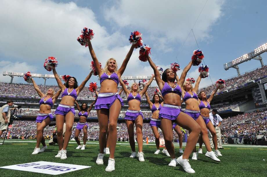 Cheerleaders for the Baltimore Ravens cheer against the Pittsburgh Steelers at M&T Bank Stadium on September 11, 2011 in Baltimore, Maryland. The Ravens defeated the Steelers 35-7. Photo: Larry French, Getty Images / 2011 Larry French