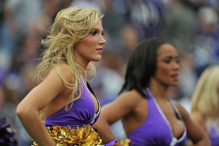 Cheerleaders for the Baltimore Ravens cheer against the Cincinnati Bengals at M&T Bank Stadium on  November 20, 2011  in Baltimore, Maryland. The Ravens defeated the Bengals 31-24. Photo: Larry French, Getty Images / 2011 Larry French