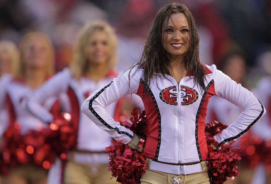 Members of the Gold Rush, the San Francisco 49ers cheerleaders, performs during the NFC Championship Game with the San Francisco 49ers and the New York Giants at Candlestick Park on January 22, 2012 in San Francisco, California. Photo: Doug Pensinger, Getty Images / 2012 Getty Images