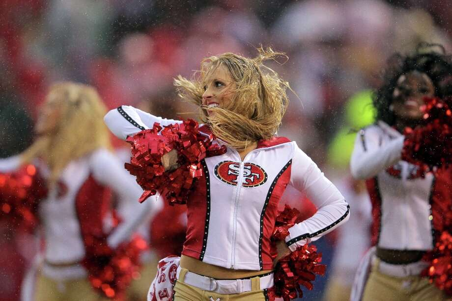 Cheerleaders for the San Francisco 49ers perform against the New York Giants during the NFC Championship Game at Candlestick Park on January 22, 2012 in San Francisco, California. Photo: Doug Pensinger, Getty Images / 2012 Getty Images