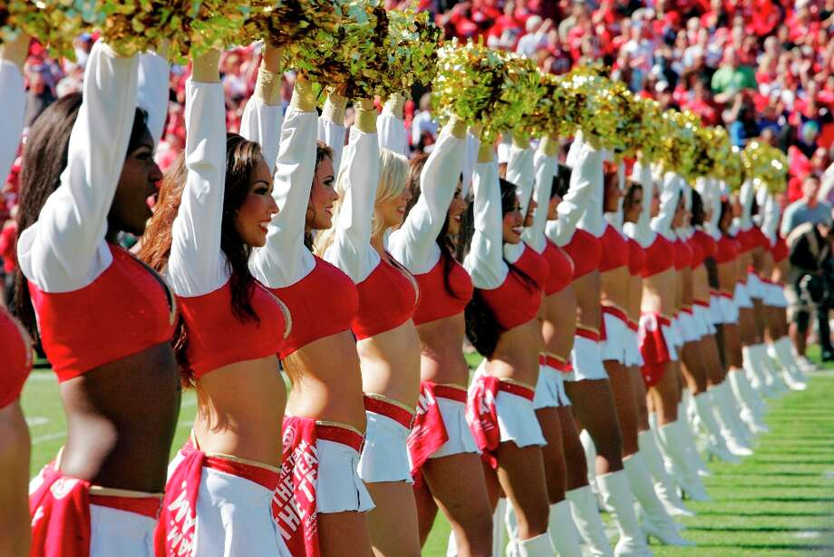 The San Francisco 49ers cheerleaders line up before a game against the New York Giants on October 14, 2012 at Candlestick Park in San Francisco, California. The Giants won 26-3. Photo: Brian Bahr, Getty Images / 2012 Getty Images