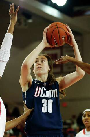 Connecticut forward Breanna Stewart (30) shoots a basket during the first half of a NCAA college basketball game against St. John's, Saturday, Feb. 2, 2013, at St. John's University in New York. (AP Photo/John Minchillo) Photo: John Minchillo, AP / Associated Press