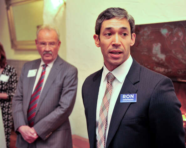 District 8 City Council candidate Ron Nirenberg (right) speaks to a well-wisher during a reception at La Fonda on Main. Former Mayor Phil Hardberger (left) announced his endorsement of Nirenberg at the event. Photo: Robin Jerstad, San Antonio Express-News / San Antonio Express-News