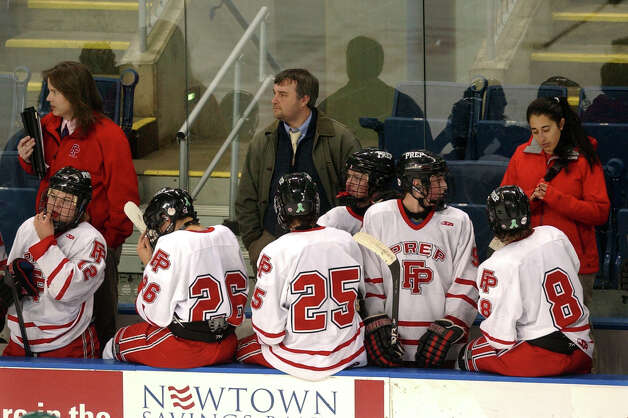 Fairfield Prep Coach Matt Sather, during boys hockey action against Hamden at the Webster Bank Arena in Bridgeport, Conn. on Saturday February 2, 2013. Photo: Christian Abraham / Connecticut Post