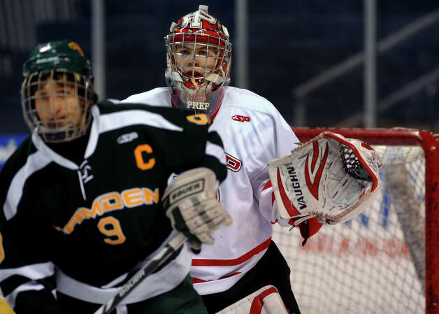 Fairfield Prep goalie Matt Beck, during boys hockey action against Hamden at the Webster Bank Arena in Bridgeport, Conn. on Saturday February 2, 2013. Photo: Christian Abraham / Connecticut Post